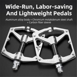 "ROCKBROS Carbon Tube Flat Bike Pedal 9/16"" Lightweight Bicycle Pedals DU Bearing"