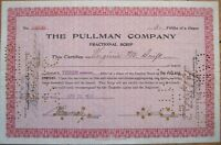 'The Pullman Company' 1910 Railroad Stock Fractional Scrip Certificate