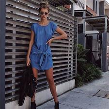 Summer Dress Women Short Sleeveless Beach Short Mini Dress Denim Party Dress New
