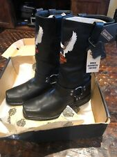 Harley Davidson Riding Leather Black Boots Harness Eagles 91002  Size 11.5 Rare!