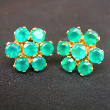 Beautiful 925 Sterling Silver Gold Plated Green Onyx Indian Earrings For GIFT