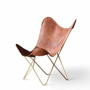 Vintage Home Decor Furniture Tan Leather Butterfly Chair BKF Sleeper Seat Retro