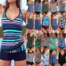 Womens Tankini Set Bikini Boy Shorts Beach Sporty Swimsuit Swimwear Costumes New