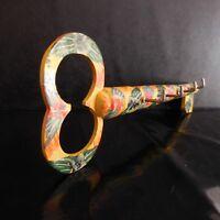 Porte-clefs fait main bois métal art nouveau déco design XXe PN France N2919