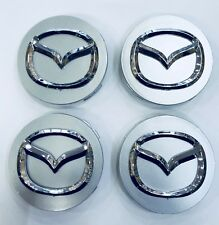 4x 56mm SILVER MAZDA ALLOY WHEEL HUB CENTRE CAPS - FITS MAZDA 2, 3, 5 & 6
