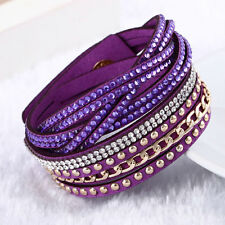 Fashion Swarovski Elements Leather Multi Strap Bracelet Purple