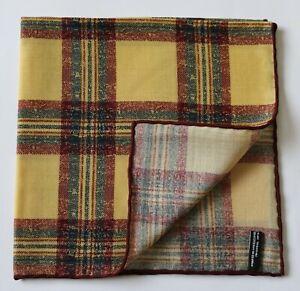 Wool & silk pocket square handkerchief. Mustard yellow & brown Plaid Tartan