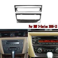 2x Carbon Fibre Central CD Panel Decorative Trim For BMW 3-Series E90  2005-2012