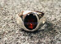 Natural Garnet & CZ Gemstone with 925 Sterling Silver Signet Ring for Men's