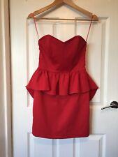 Mini Vestido Oasis Talla 8 Rojo Cóctel Fiesta celebridad Bandeau Femme Lux en el estilo CB