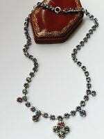 "Vinatge 16"" Diamante Diamond Rainbow Iris Paste Necklace 50's"