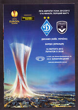 UEFA EUROPA LEAGUE 2013 Football PROGRAMME DYNAMO BORDEAUX FRANCE 1/16 FINALS