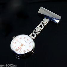 Silver Nurses Fob Watch Luminous Rose Gold Hands Large Face Free Post 2017 Model