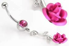 """14g 7/16"""" Round Jewel with Dangle Rose Belly Button Ring"""