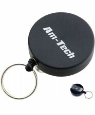 Am-Tech Recoil Key Ring Retractable Belt Clip Pull Nylon Retracting Extending