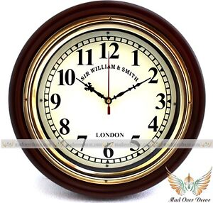 """VINTAGE MARITIME ANTIQUE STYLE WOOD & BRASS 12""""SIR WILLIAM DECORATIVE WALL CLOCK"""