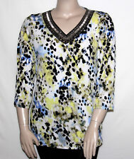 NEW JM COLLECTION Plus 1X V-neck Embellished Printed Tunic 3/4 Sleeve DOT SMUDGE