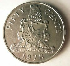 1978 BERMUDA 50 CENTS - AU - Excellent Large Coin - FREE SHIP - BIN #MMM