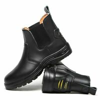 BLACK LEATHER MENS WATERPROOF SAFETY STEEL TOE CAP BOOTS WORK SHOES CHELSEA UK