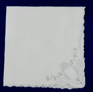 """Set of 12 All Linen Cocktail/Hors d'oeuvres Napkins Embroidered Corners12x12.5"""""""
