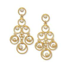 Stunning 14K Gold Plated 925 STERLING SILVER CZ Chandelier Earrings w Gift Box