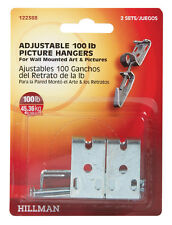 HILLMAN AnchorWire 100 lb. Picture Mirror Hanger Metal Adjustable 2 pk 122388