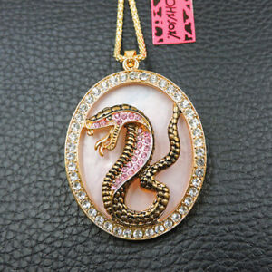 Pink Enamel Crystal Cute Snake Betsey Johnson Pendant Chain Necklace Gift
