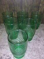 """VINTAGE LIBBEY 10 oz GREEN SWIRL 4.5"""" DRINK/BEVERAGE GLASSES, SET OF 6"""