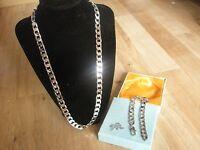 """Sale 18K WGP Silver 24"""" Necklace & 9"""" Bracelet Set, Husband Father Birthday Gift"""