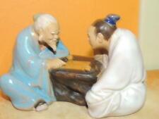 """Chinese Mud Man/ Men 3.5"""" Men Playing board game marked China mudman Wanjiang"""
