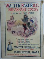 1906 Walter Baker & co breakfast cocoa little girls Tea Party poem Color ad