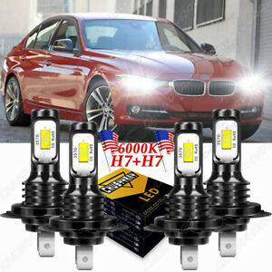 For BMW 328i 335i 325i 2010-2015 Combo 6000K LED Headlight Hi&Low 4x Bulbs Kit