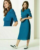 MARKS & SPENCER COLLECTION HALF SLEEVE SHIRRED WAIST MIDI DRESS Sizes 8 to 16
