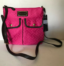 NEW! TOMMY HILFIGER SIGNATURE PINK MONOGRAM CROSSBODY SLING BAG PURSE $69 SALE