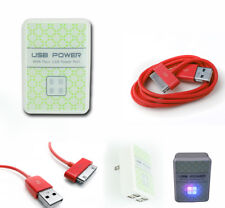 20X 4 USB PORT WALL ADAPTER+10FT CABLE CORD CHARGER SYNC RED IPHONE IPOD IPAD