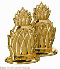 BOOKENDS - PINEAPPLE METAL BOOKENDS - SOLID BRASS PINEAPPLE BOOKENDS - BOOK ENDS