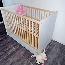 Lit Bébé Lit à Barreaux Tiroir Complet Lot Lit Enfant 120 x 60 Blanc Rose Offre