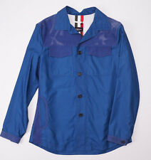 NWT $3950 KITON NAPOLI Medium Blue 100% Silk Suede-Trimmed Jacket 50/40 (M)