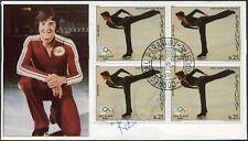 OLYMPICS SKATING ROBIN COUSINS SIGNED 1980 LAKE PLACID PARAGUAY BLOCK