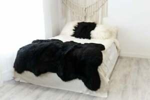 Black Sheepskin Rug Natural Merino Large Size Sheepskin Throw Teppich Giant Rugs