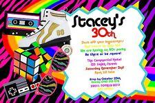 Retro 80 Invitation Birthday 80s Party Invite U PRINT Digital File 1980's Era