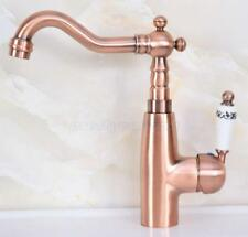 Red Copper Bathroom Basin Faucet Single Handle/Hole Deck Mounted Sink Mixer Tap