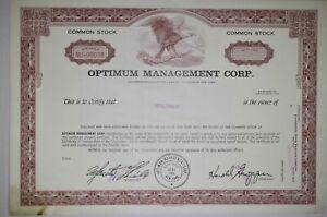 Stock Certificate Optimum Management Corp NY 1969 Unissed Specimen 38