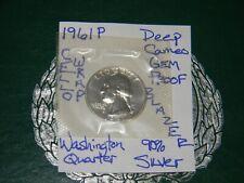1961 P 25C Washington Quarter {DEEP CAMEO GEM} Proof 90% Silver-GOV'T W/CELLO!!