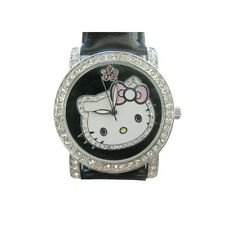 Hello Kitty Head Face Crystal Pave Black Leather Band Stainless Steel Watch