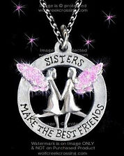 SISTERS MAKE THE BEST FRIENDS NECKLACE ANGELS SISTER PINK SWEET GIFT - FREE SHIP