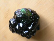 """Great Vintage Hand Blown Purple Grapes Cluster Art Glass Green leaves Stem 5"""""""