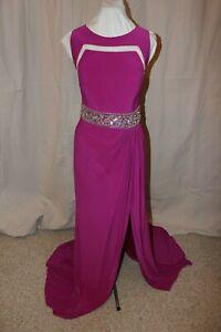NWT Mac Duggal 65466 Magenta Size 16W long beaded sleeveless PROM Gown