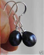 Trendy 7-8mm oval genuine Black freshwater pearl 925 sterling silver earrings