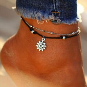 Jewelry Women Leather Summer Beach Beads Charm  Foot Chain Anklets Sun Pendant